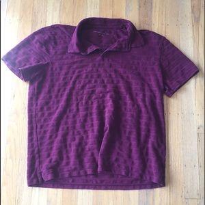 John Varvatos burgundy polo shirt sz L stylish